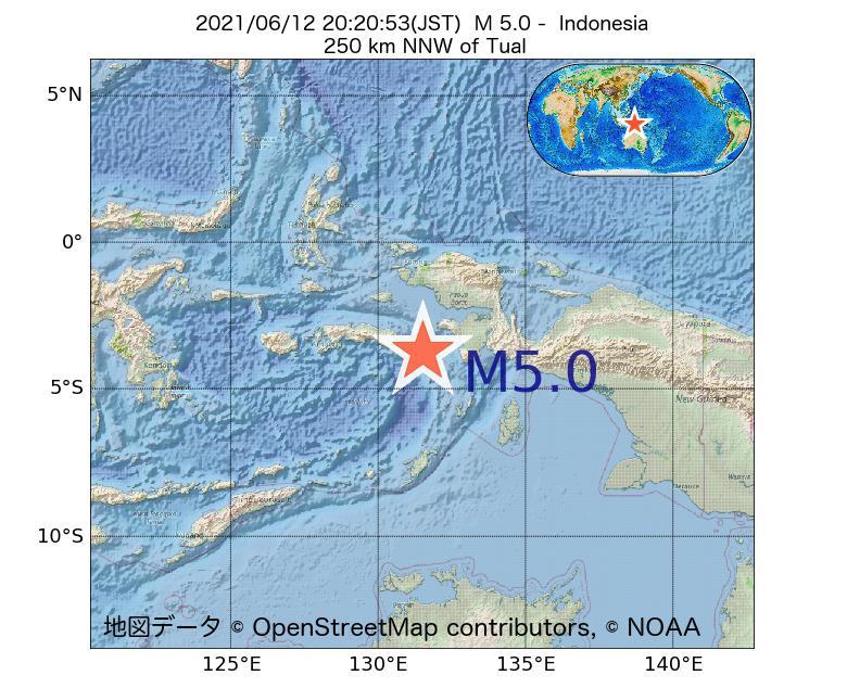 2021年06月12日 20時20分 - インドネシアでM5.0