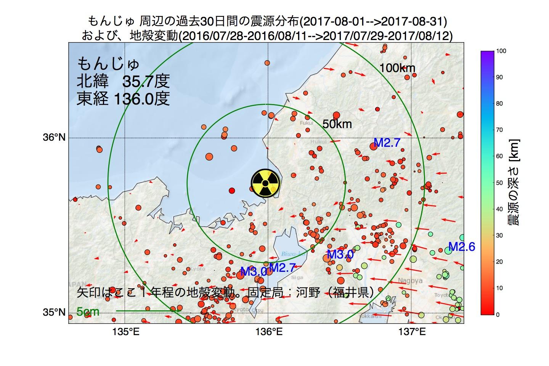 地震震源マップ:2017年08月31日  もんじゅ周辺の地殻変動と地震活動