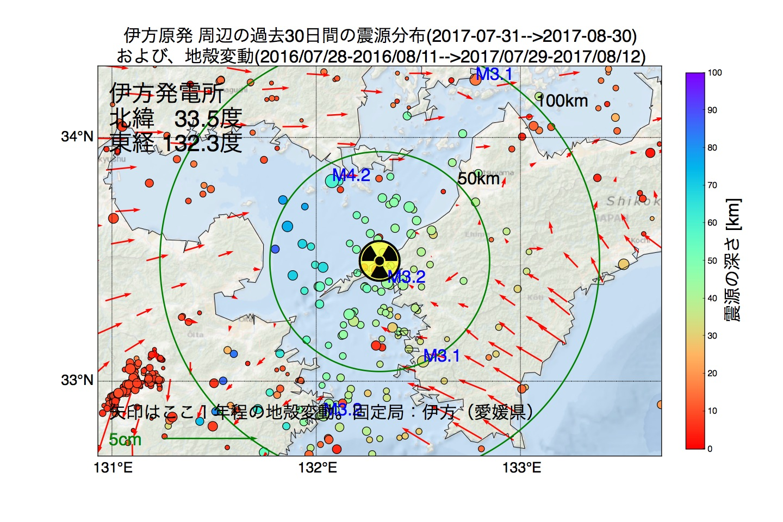 地震震源マップ:2017年08月30日  伊方発電所周辺の地殻変動と地震活動