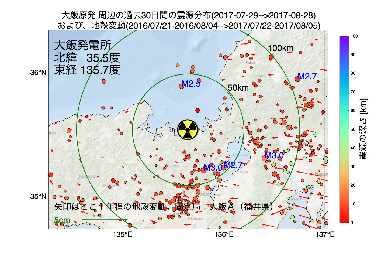 地震震源マップ:2017年08月28日  大飯発電所周辺の地殻変動と地震活動