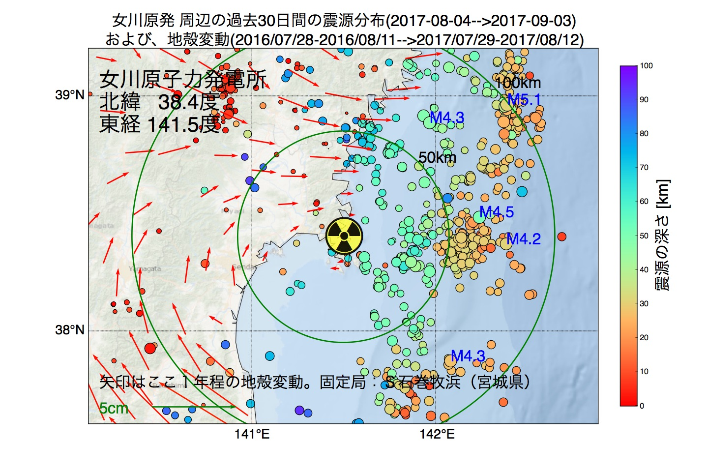 地震震源マップ:女川原子力発電所周辺の地殻変動と地震活動 (2017年09月03日現在)