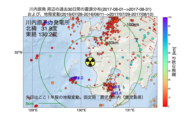 地震震源マップ:2017年08月31日  川内原子力発電所周辺の地殻変動と地震活動