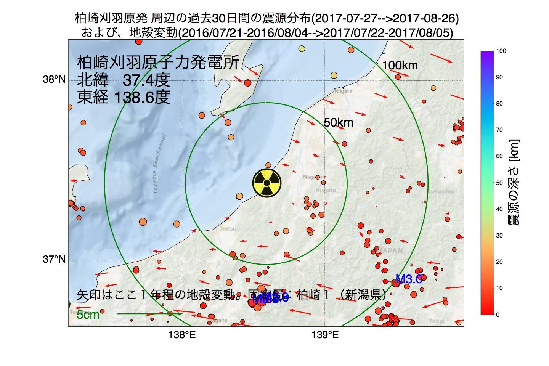 地震震源マップ:2017年08月26日  柏崎刈羽原子力発電所周辺の地殻変動と地震活動