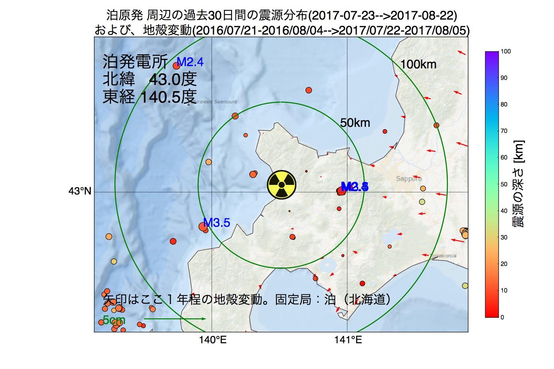 地震震源マップ:2017年08月22日  泊発電所周辺の地殻変動と地震活動